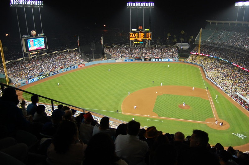 Photo taken from the top deck level at Dodger Stadium during a Los Angeles Dodgers home game.