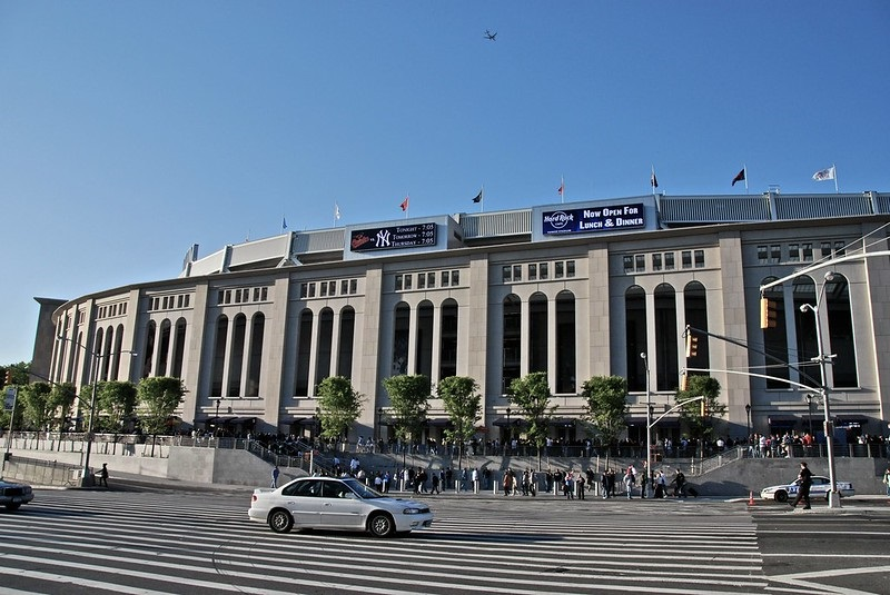 Exterior photo of Yankee Stadium in the Bronx, New York. Home of the New York Yankees.