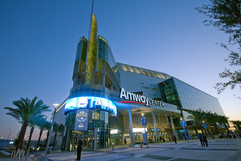 Exterior photo of the Amway Center in Orlando, Florida. Home of the Orlando Magic.