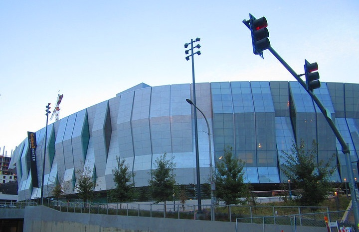 Exterior photo of the Golden 1 Center in Sacramento, California.