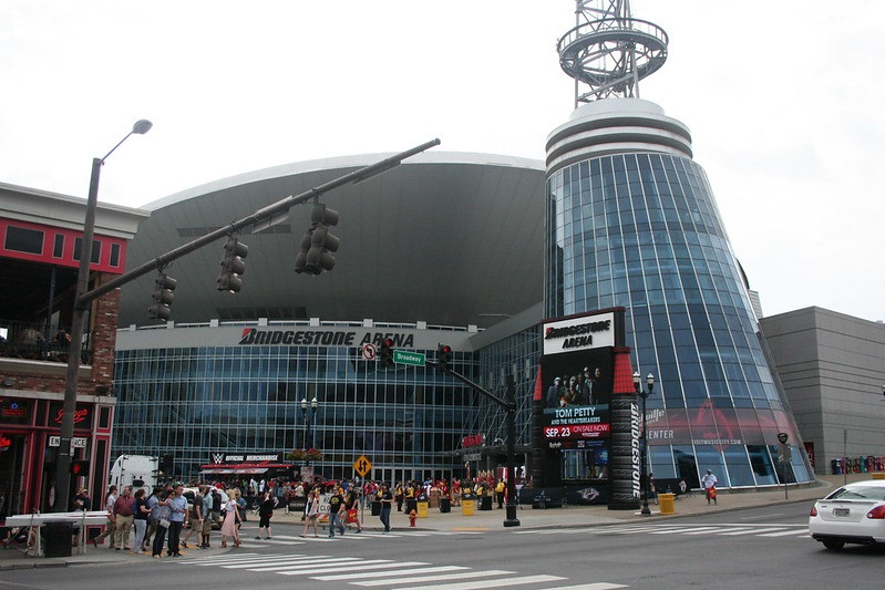 Exterior photo of Bridgestone Arena in downtown Nashville, Tennessee.
