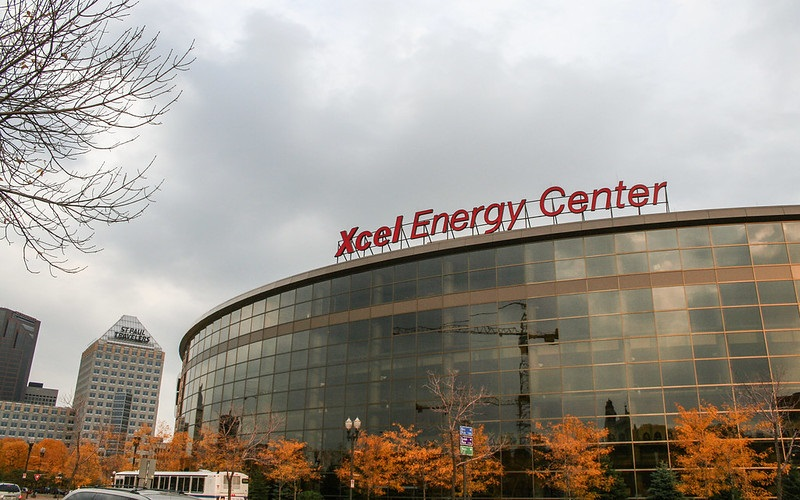 Exterior photo of the Xcel Energy Center in St. Paul, Minnesota. Home of the Minnesota Wild.