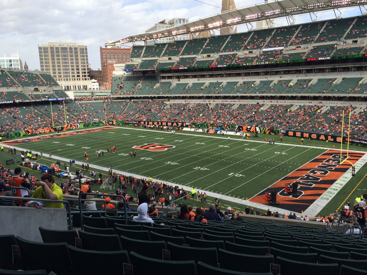 View of the interior of Paul Brown Stadium during a Cincinnati Bengals game.