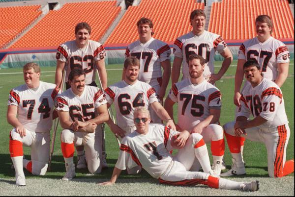 Photo of Bengals Quarterback Boomer Esiason and his Offensive Lineman. Media Day - Super Bowl XXIII.