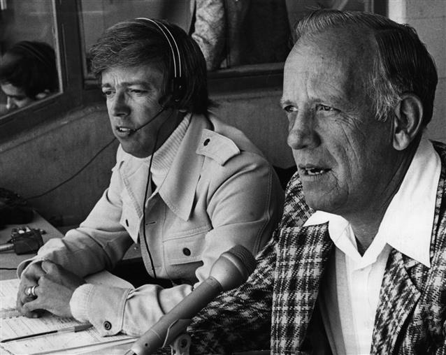 Photo of legendary Cincinnati Reds announcers Marty Brennaman and Joe Nuxhall.