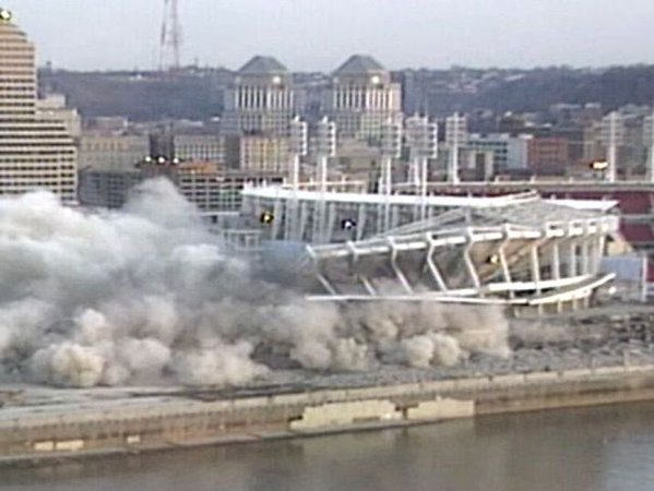 Photo of the Cinergy Field implosion from Kentucky. Thanks for the Memories.