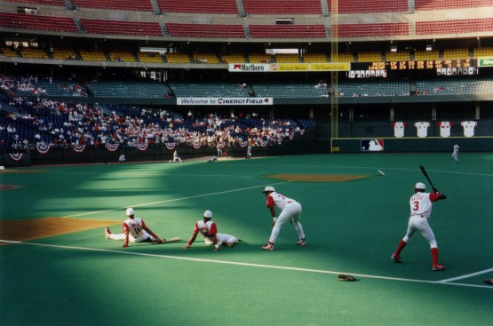 Cincinnati Reds players warming up at Cinergy Field during the 1990's.