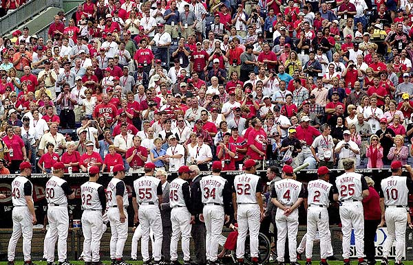 Photo of the National Anthem during the last Cincinnati Reds home game at Riverfront Stadium.