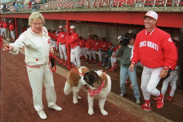 "Cincinnati Reds Owner Marge Schott with her dog and team mascot ""Schottzie""."