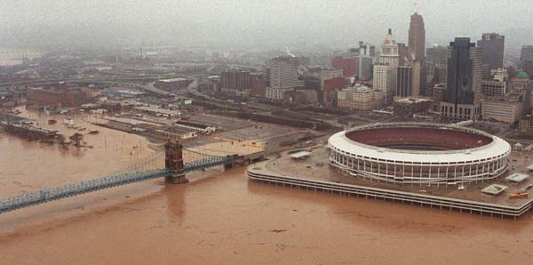 Aeral photo of Cinergy Field during the Great Flood of March 1997.