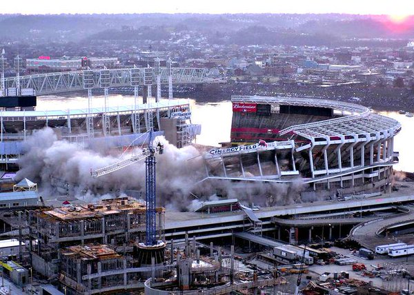 Photo of the Cinergy Field Implosion from Ohio.