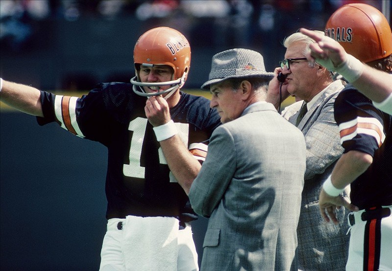 Cincinnati Bengals Founder and Head Coach Paul Brown with Quarterback Ken Anderson.