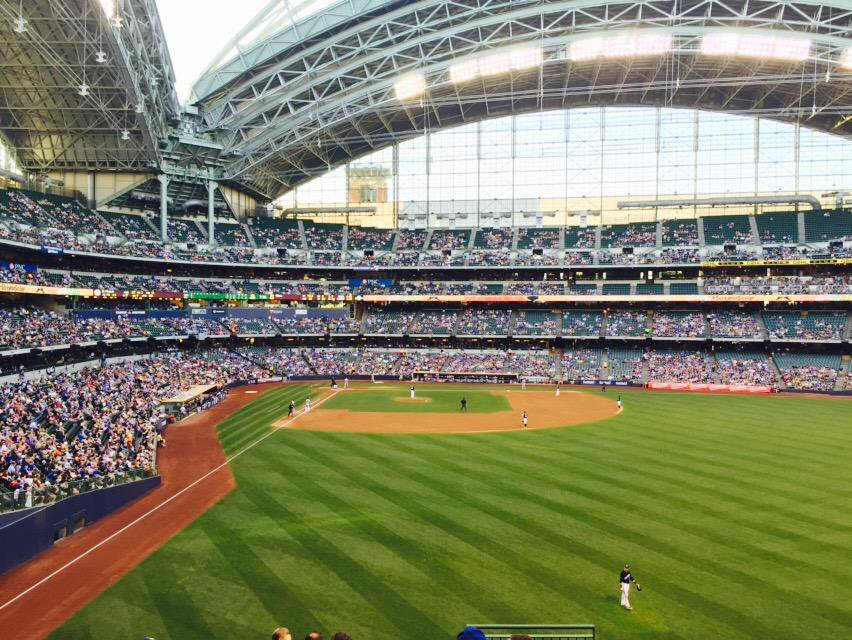 View from the field bleachers at Miller Park. Home of the Milwaukee Brewers.