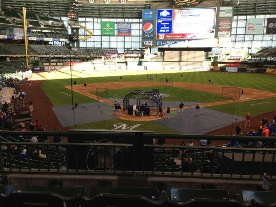 View from the club infield seats at Miller Park. Home of the Milwaukee Brewers.