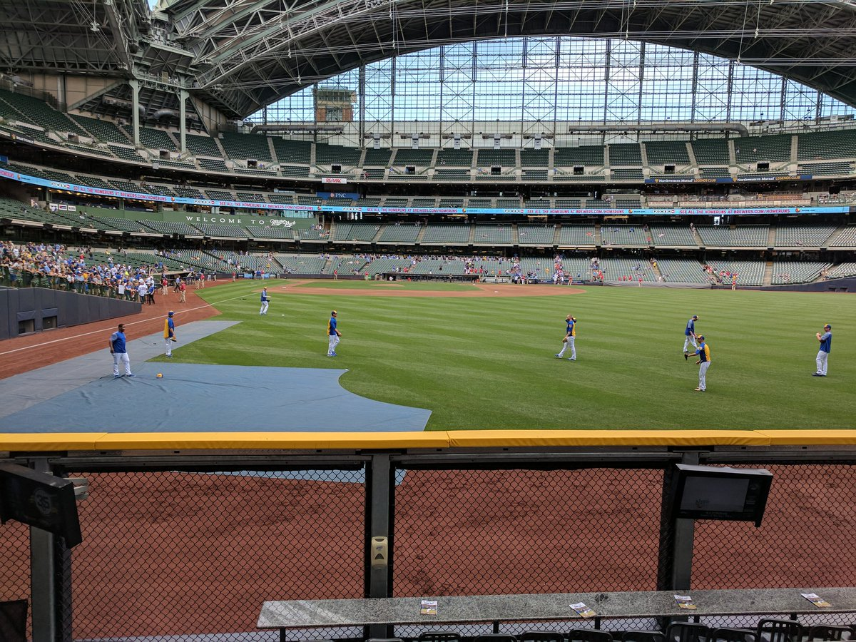 View from the field bleachers box seats at Miller Park. Home of the Milwaukee Brewers.