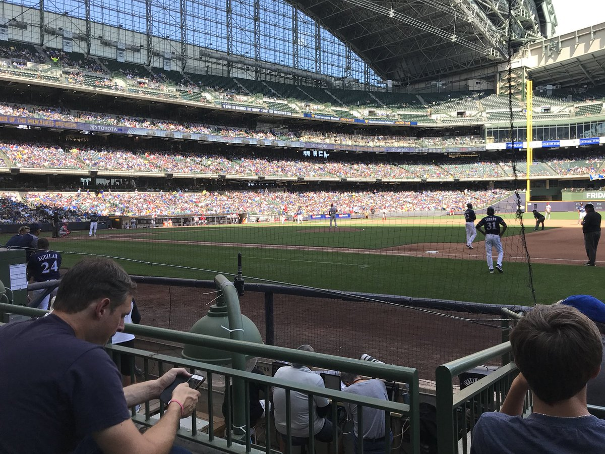 View from the field diamond box seats at Miller Park. Home of the Milwaukee Brewers.