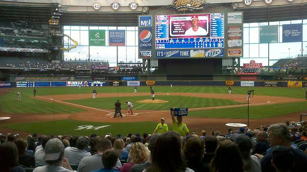 View from the field infield box seats at Miller Park. Home of the Milwaukee Brewers.