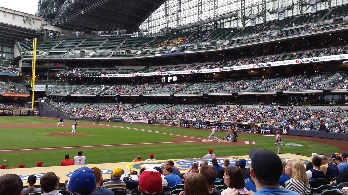 View from the field infield platinum seats at Miller Park. Home of the Milwaukee Brewers.