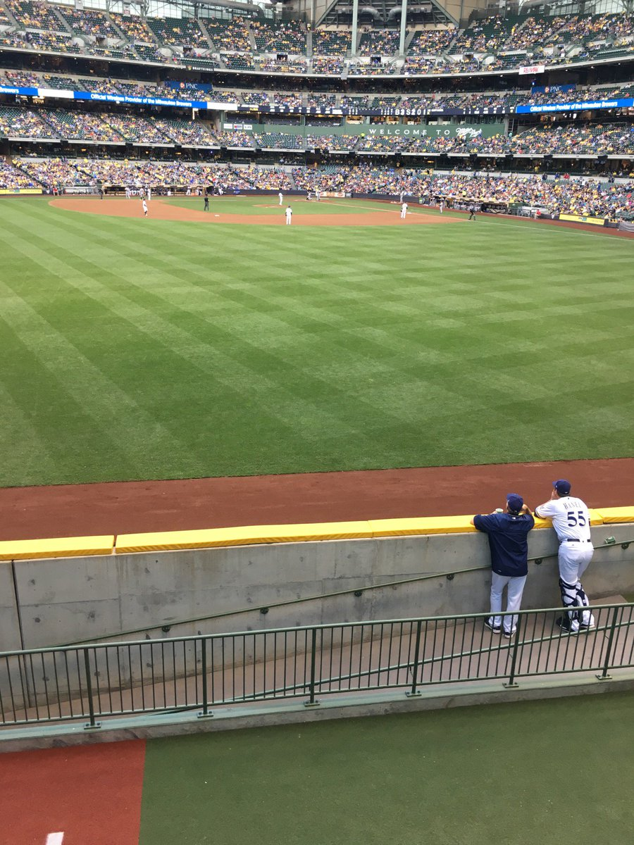 View from the Friday's Front Row Sports Grill at Miller Park. Home of the Milwaukee Brewers.
