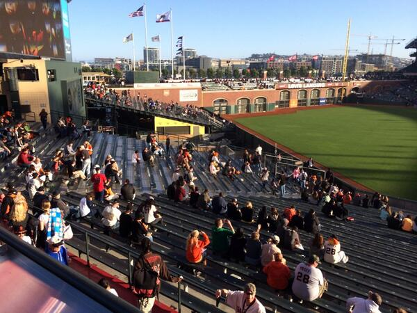 View from the bleachers at AT&T Park during a San Francisco Giants game.