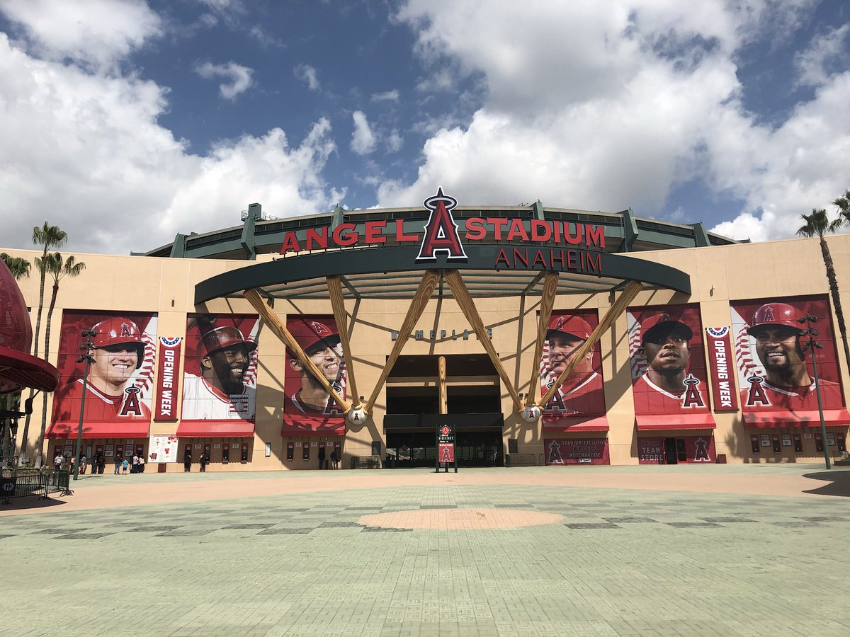 Exterior photo of Angel Stadium of Anaheim. Home of the Los Angeles Angels.