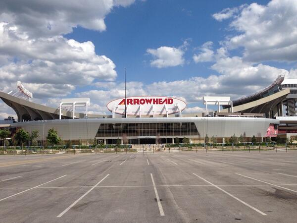 Exterior photo of Arrowhead Stadium from the tailgating lots. Home of the Kansas City Chiefs.
