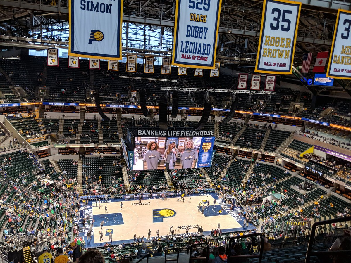 Photo of an Indiana Pacers game from the upper level of Bankers Life Fieldhouse.