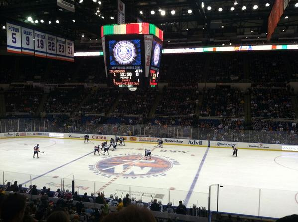 Photo of a New York Islanders game at the Barclays Center.