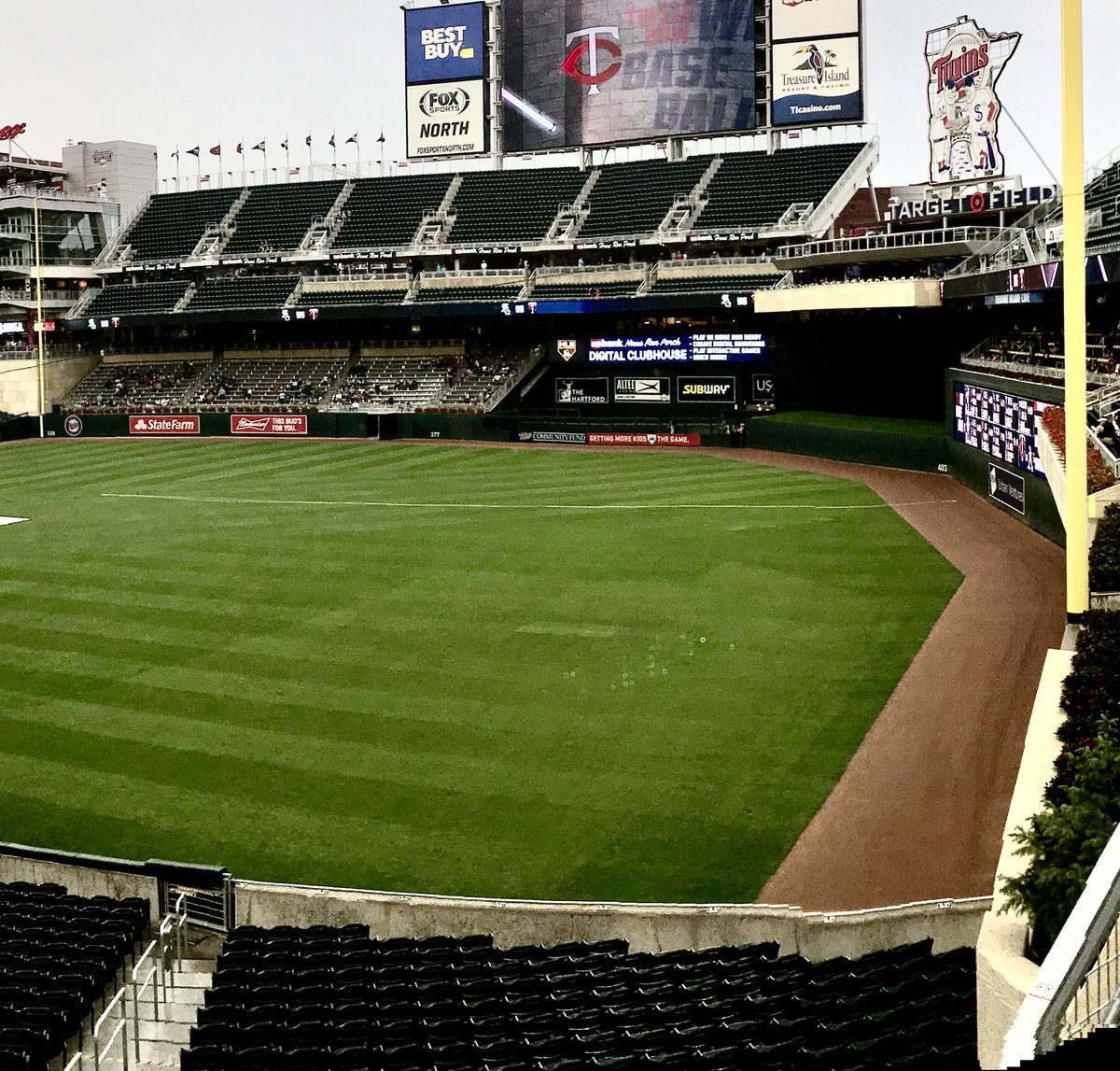 Photo of the outfield at Target Field, home of the Minnesota Twins.