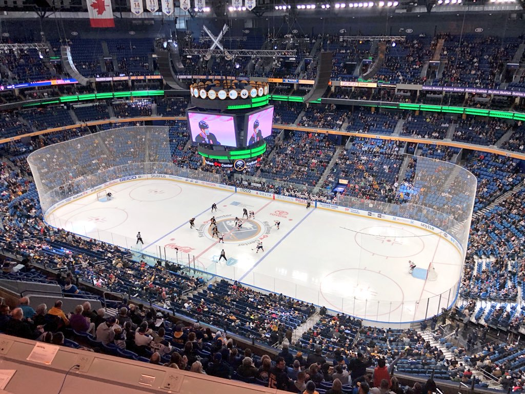 Photo of the ice at the KeyBank Center from the upper level. Home of the Buffalo Sabres.