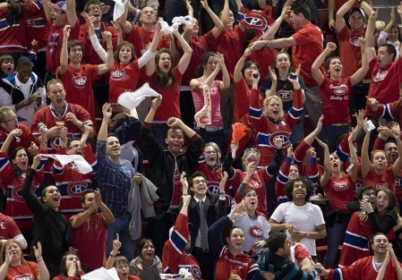 Photo of Montreal Canadiens fans at the Bell Centre.