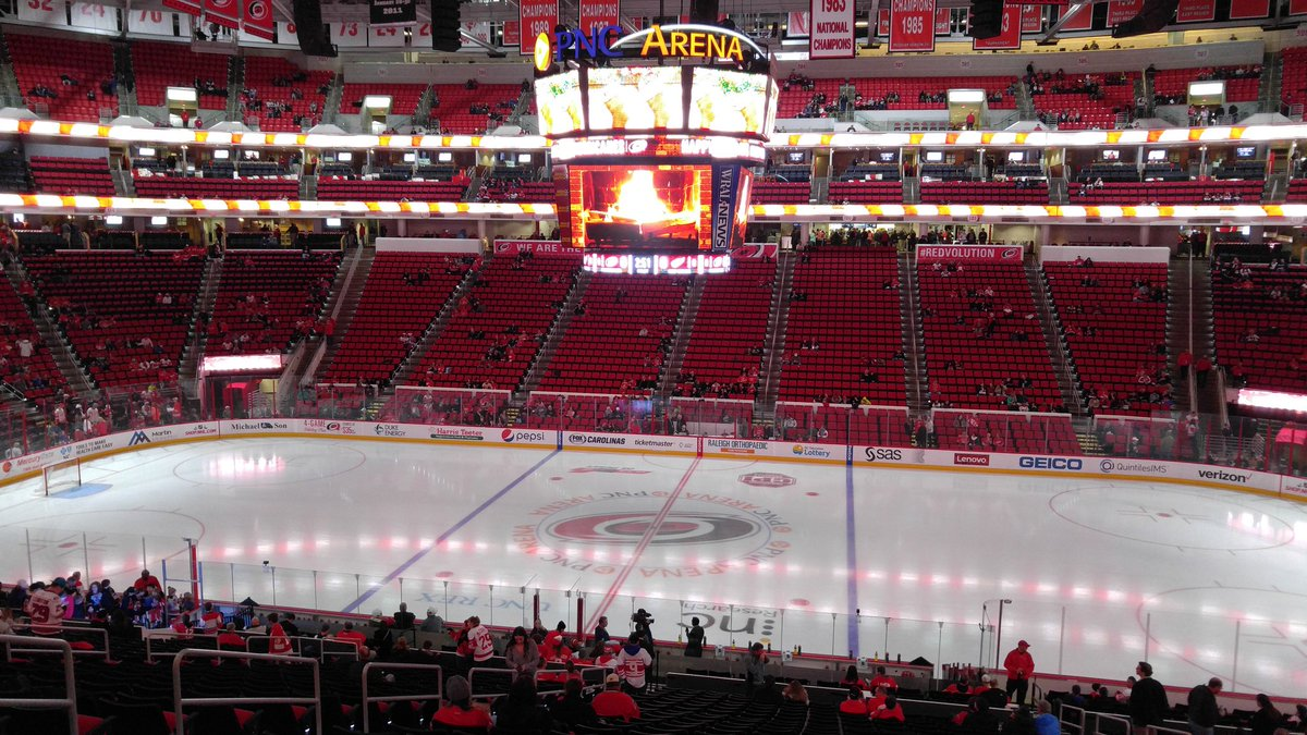 Photo of the ice at PNC Arena, home of the Carolina Hurricanes.