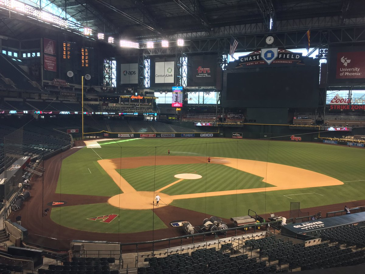 Photo of the field at Chase Field, home of the Arizona Diamondbacks.