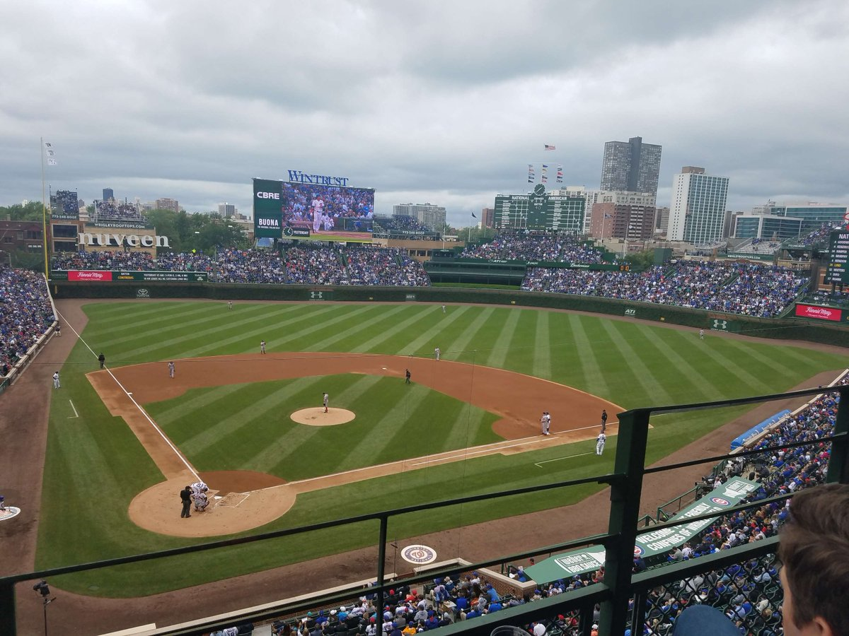 Photo of a Chicago Cubs day game at Wrigley Field in Chicago, Illinois.