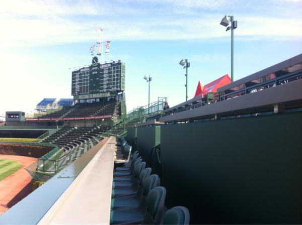 Outfield bleachers at Wrigley Field in Chicago, Illinois