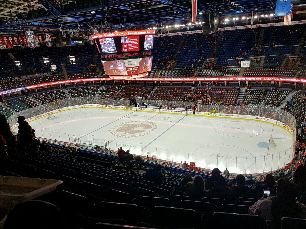 Photo of the ice at the Scotiabank Saddledome, home of the Calgary Flames.