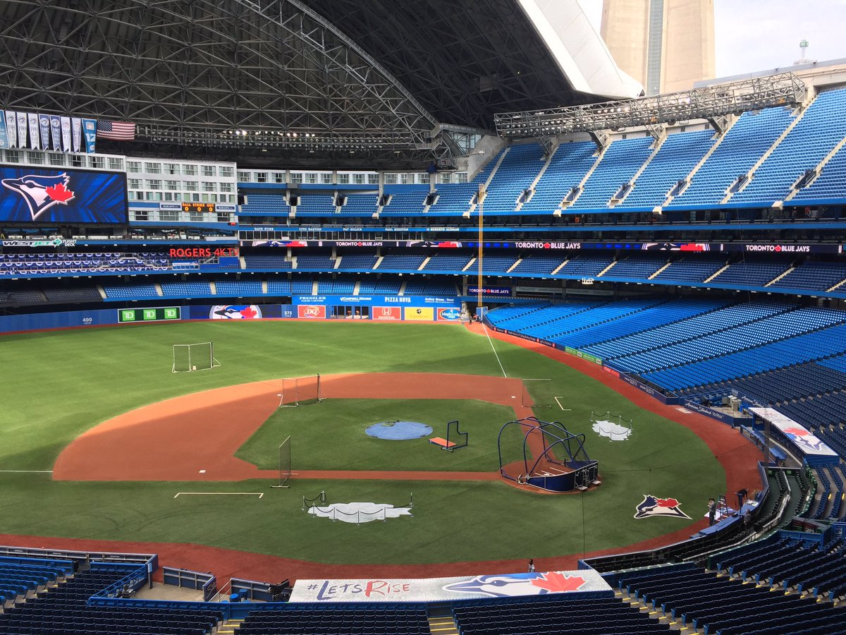 Photo of the baseball diamond in an empty Rogers Centre. Home of the Toronto Blue Jays.