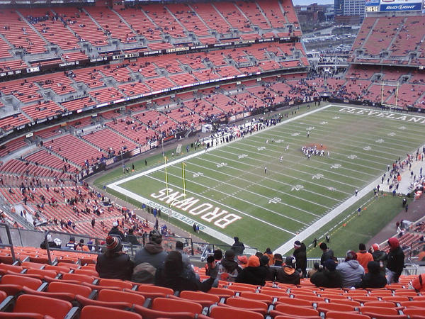 Photo of the empty seats at FirstEnergy Stadium, home of the Cleveland Browns.