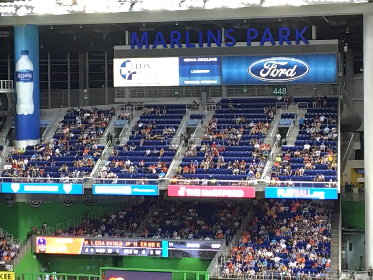 Photo of empty seats at Marlins Park during a Miami Marlins game.