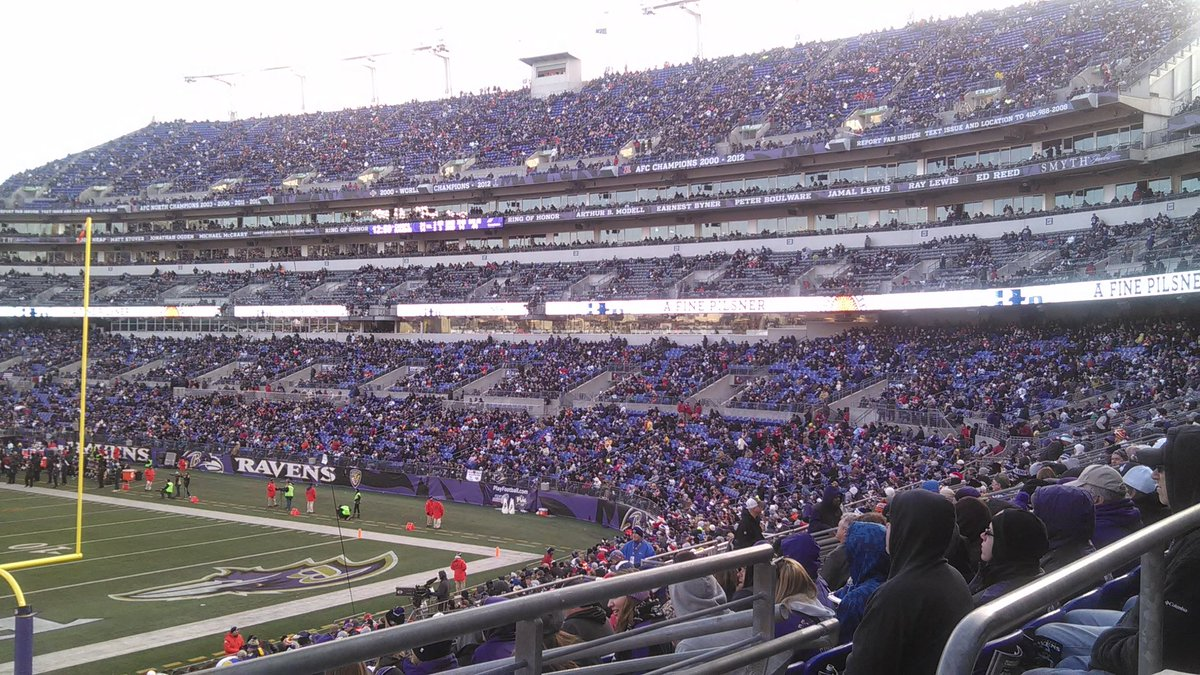 Photo of empty seats at M&T Bank Stadium, home of the Baltimore Ravens