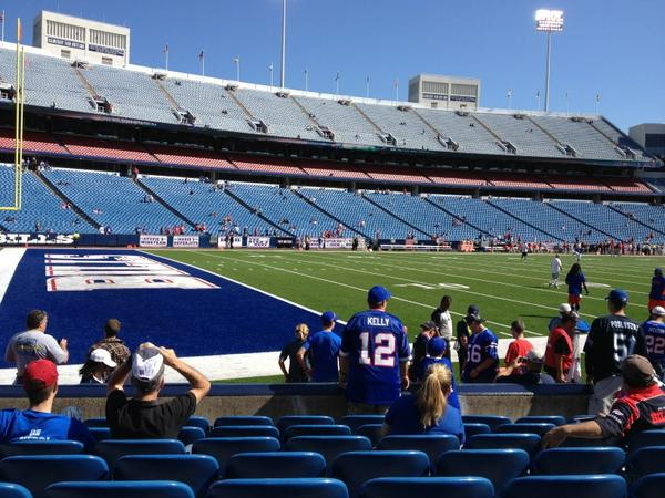 Photo of empty seats at New Era Field, home of the Buffalo Bills.