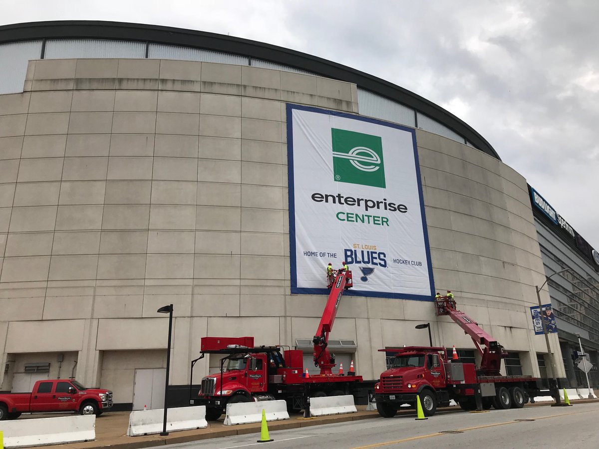 Exterior photo of the Enterprise Center. Home of the St. Louis Blues.
