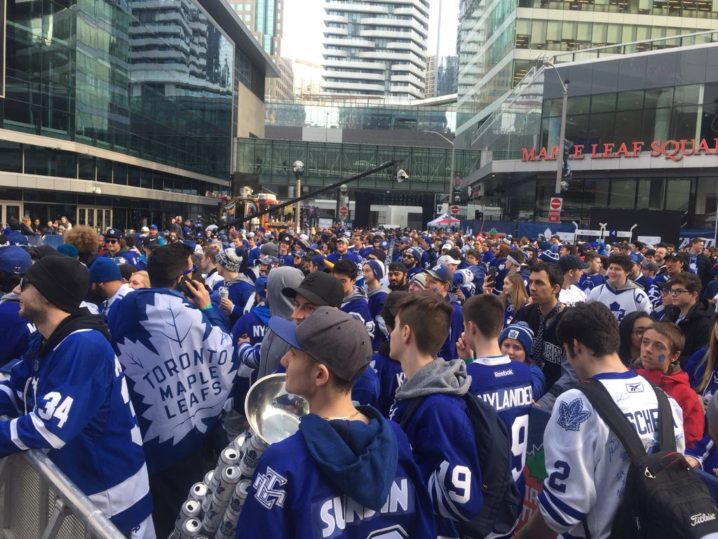 Photo of Toronto Maple Leafs Fans at Maple Leaf Square.
