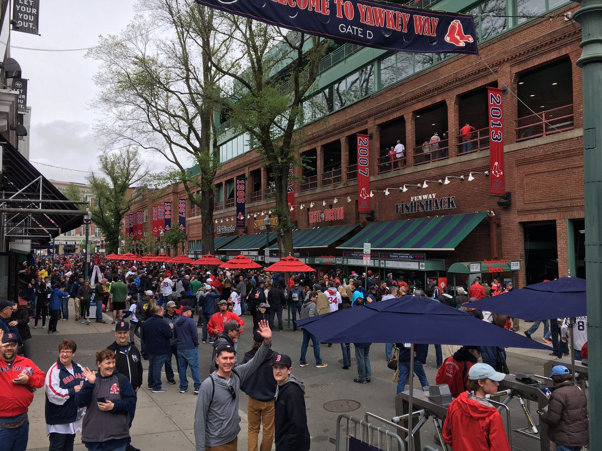 Yawkey Way outside of Fenway Park in Boston, Massachusetts