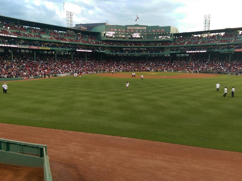 View of field at Fenway Park from the outfield bleachers