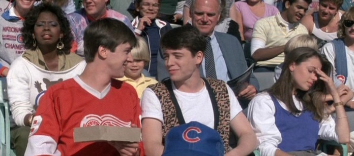 Photo of Ferris Bueller and Cameron at Wrigley Field during a Chicago Cubs game.
