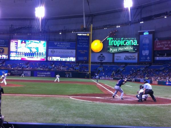 View from the fieldside box seats at Tropicana Field during a Tampa Bay Rays game.
