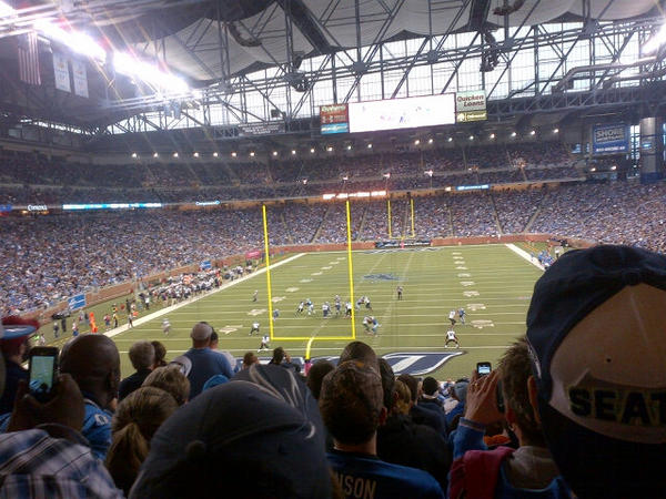 Photo of a Detroit Lions game at Ford Field from the end zone seats.