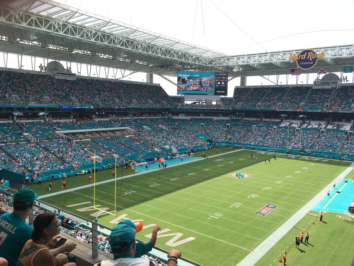 Photo of a Miami Dolphins home game at Hard Rock Stadium.
