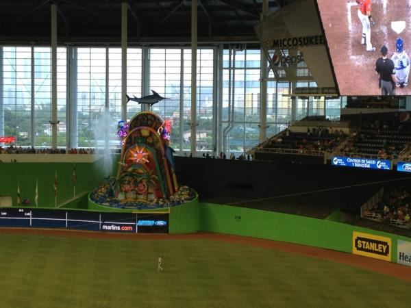 Photo of the home run sculpture at Marlins Park.